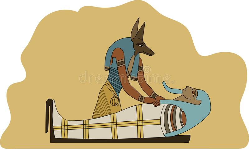 Ancient Egypt Anubis Embalming Mummification a Pharaoh Illustration vector illustration