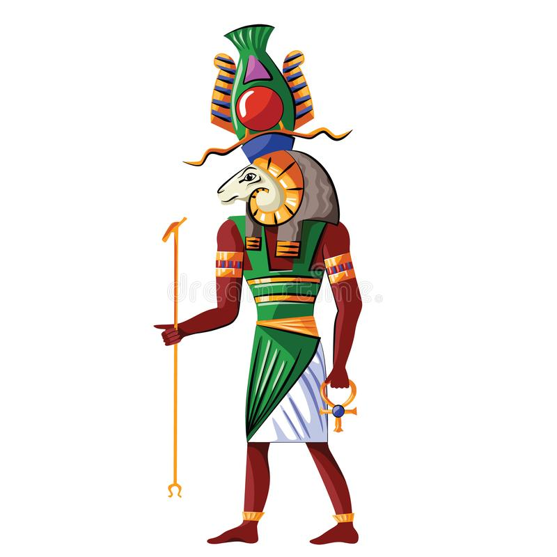 Ancient Egypt god Nile source Khnum illustration. Ancient Egypt god source of Nile Khnum cartoon vector. Egyptian culture religious symbol, creator god with stock illustration