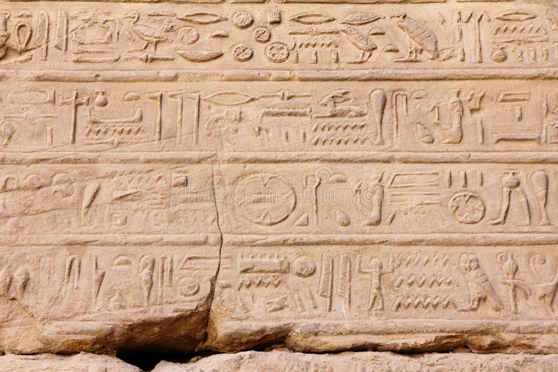 Ancient egypt hieroglyphics in karnak temple stock photography