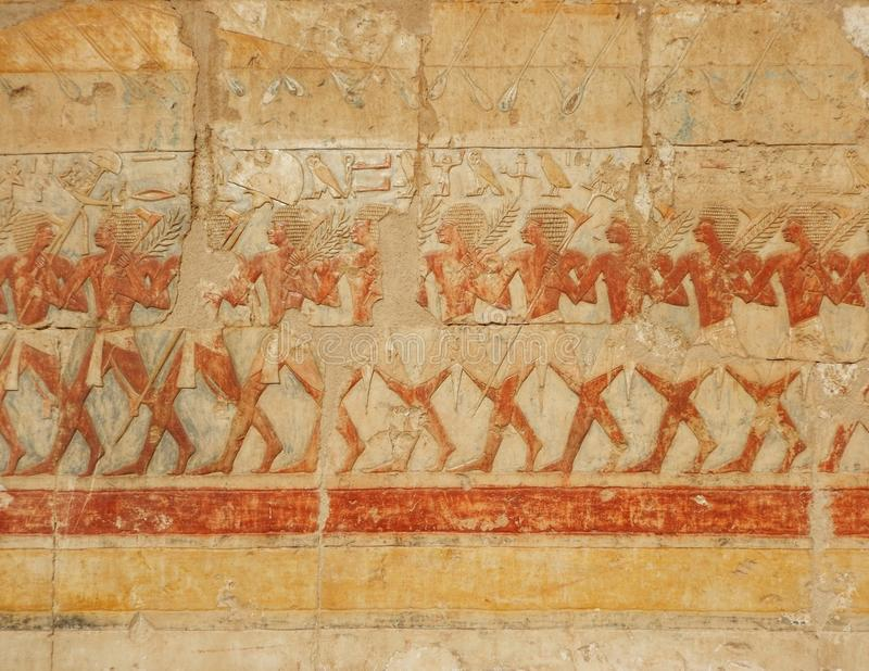 Tourist attraction – Egyptian Temple Hatsepsut. Unesco world heritage – in Egypt. Ancient Egypt images and hieroglyphics on wall in Karnak Temple stock photography