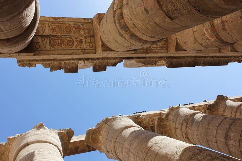 Egyptian Temple Complex Karnak. Tourist attraction. Unesco world heritage in Egypt. Ancient Egypt images and hieroglyphics on wall in Karnak Temple. Egyptian stock images