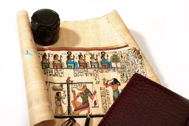 Ancient Egypt on the old scrolls royalty free stock photos