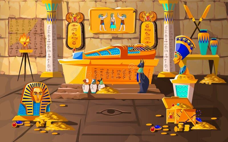 Ancient Egypt tomb of pharaoh cartoons vector. Illustration. Egyptian pyramid interior with golden sarcophagus, hieroglyphs and mural, scarab beetles, ritual royalty free illustration