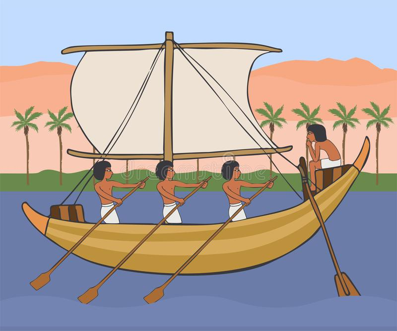Ancient egyptian boat at Nile with pyramids background. Ancient egyptian boat with sail and rowers at Nile, vector cartoon illustration with pyramids background royalty free illustration