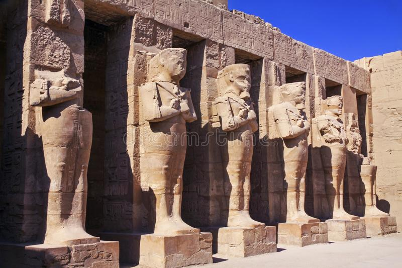 Ancient Egyptian Statues In Karnak Temple Courtyard Near Luxor Stock