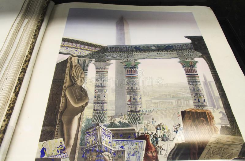 Ancient Egyptian Civlization Illustration in Ancient Alexandria Library royalty free stock image