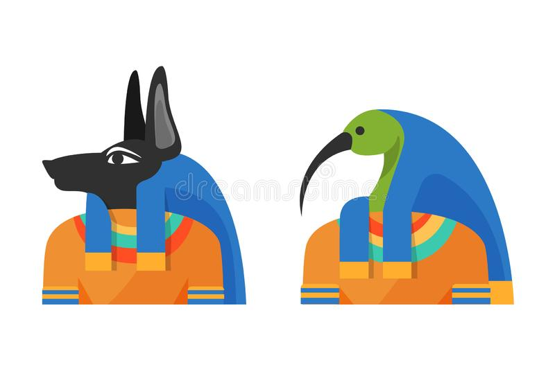 Ancient Egyptian Gods Anubis and God Thoth, Djehuti. Ancient Egyptian deity with head of jackal and body of man, the conductor of dead to the afterlife, Anubis vector illustration