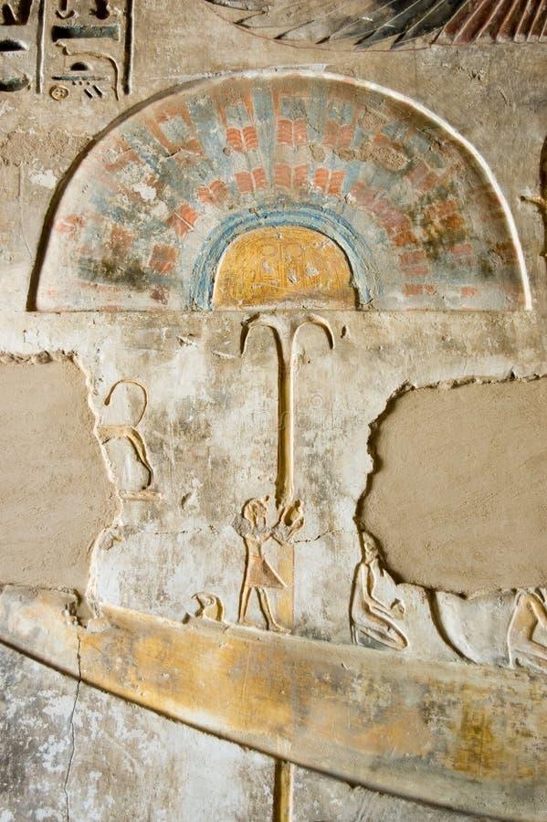Download Ancient Egyptian Fan Fresco Stock Image - Image of medinet, bank: 12907423