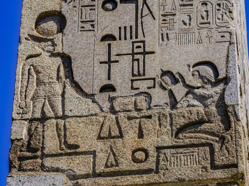 Ancient Egyptian Figures Hieroglyphics Obelisk Piazza Popolo Rome Italy stock photography