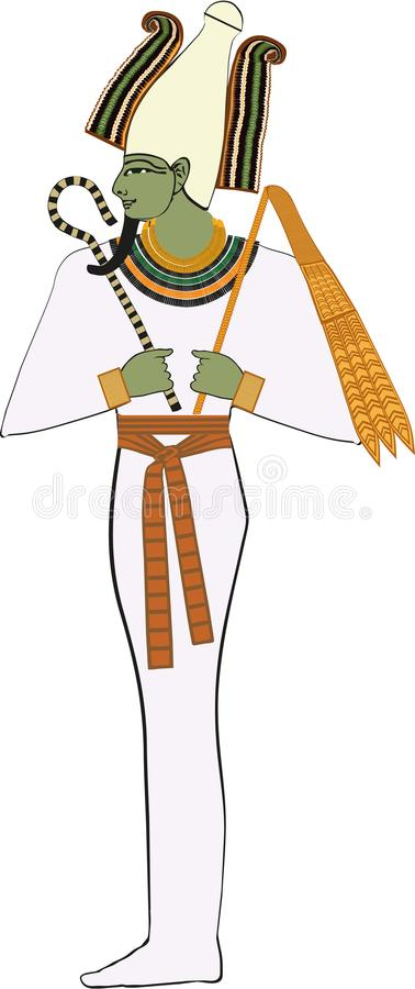 Ancient Egyptian God Osiris. Ancient Egyptian God of the afterlife, the underworld and rebirth. Usually having a Pharaoh`s beard and green skin. Father of Horus stock illustration