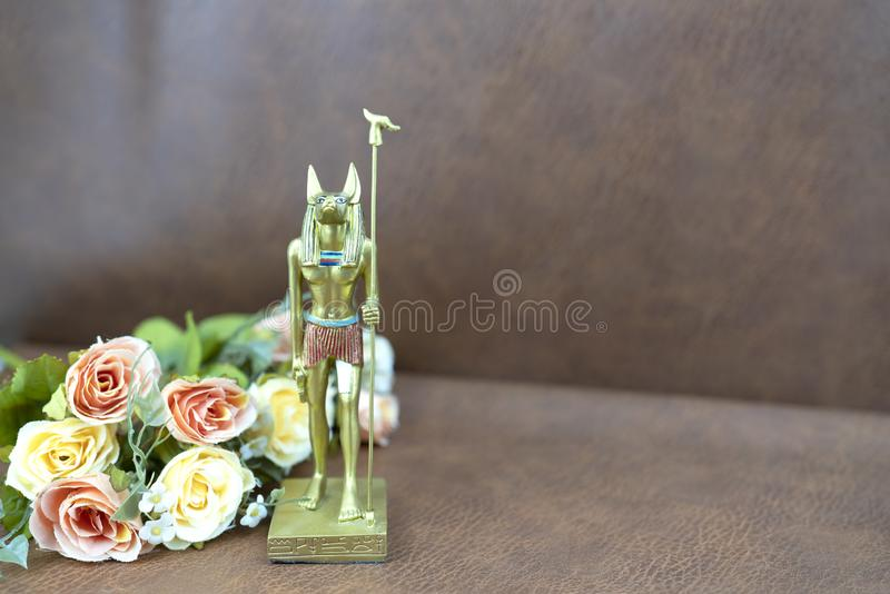 Ancient Egyptian god Anubis souvenir. For travel concept background stock photography