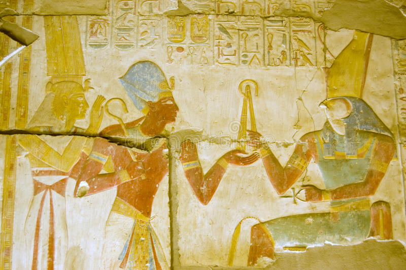 Ancient Egyptian god Horus with Seti and Isis stock image