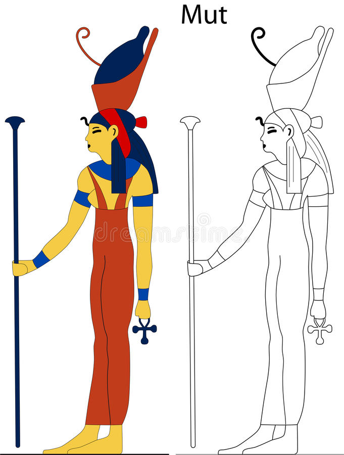 Ancient Egyptian goddess - Mut. Mut, which meant mother in the ancient Egyptian language, was an ancient Egyptian mother goddess with multiple aspects that royalty free illustration