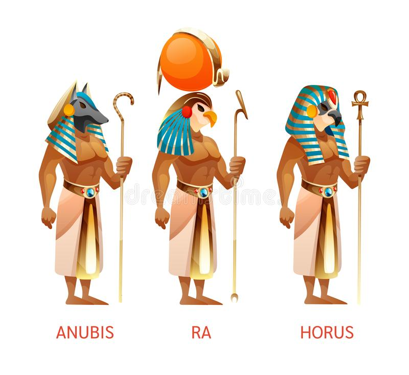 Free Ancient Egyptian Gods Ra, Horus, Anubis From Egyptian Mythology Religion Stock Photos - 165000643