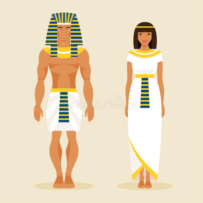 Ancient Egyptian man and a woman. Vector illustration stock illustration