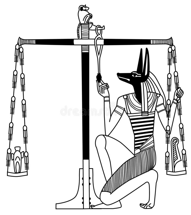 An ancient Egyptian mural, Anubis` judgment vector illustration