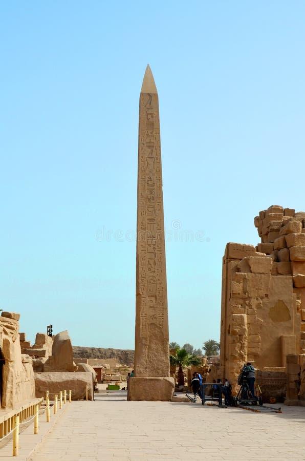 Ancient Egyptian Obelisk at Karnak Temple royalty free stock photo