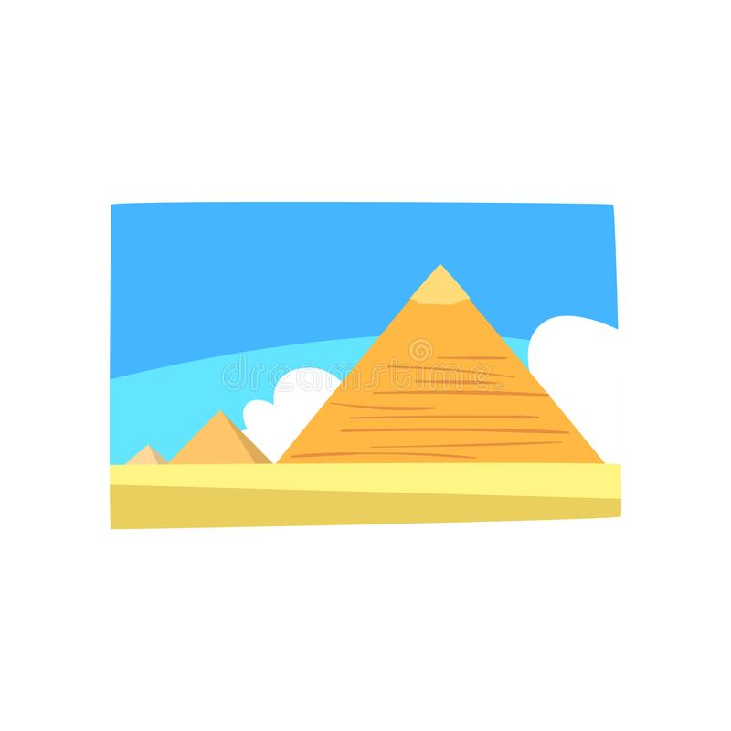 Ancient Egyptian pyramids in desert, blue sky and white clouds on background. Travel to Egypt. Colorful sandy landscape royalty free illustration