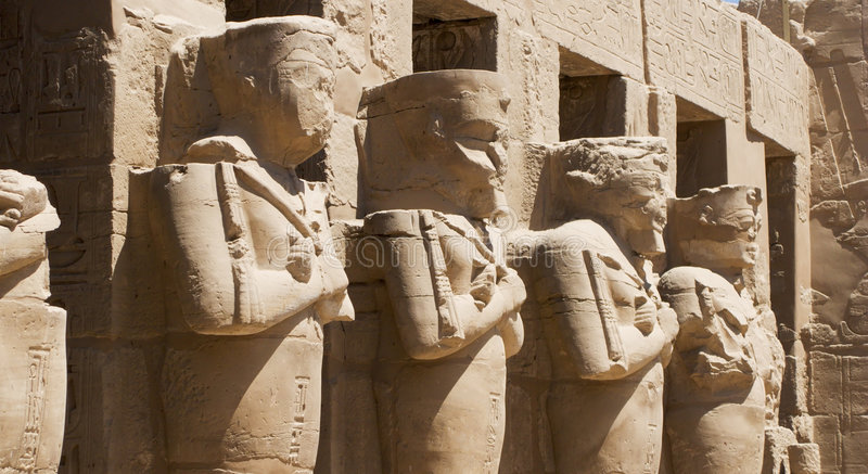 Ancient egyptian statues royalty free stock photo