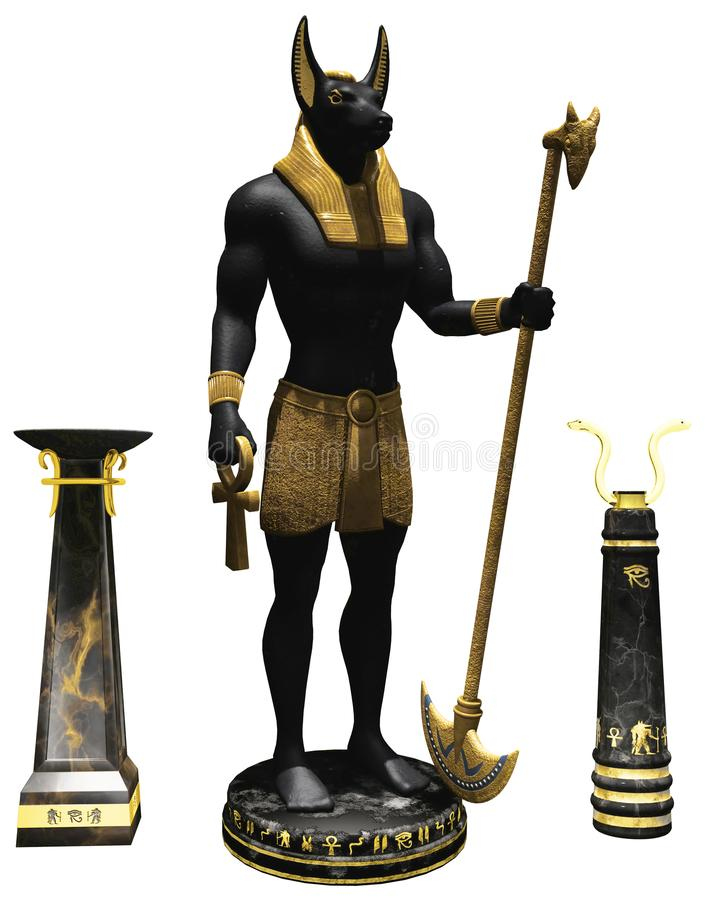 Ancient Egyptian statues and items. 3D render of ancient Egyptian statues and items with gold ornaments royalty free illustration