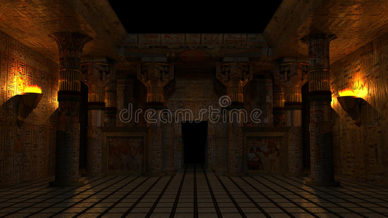 Ancient Egyptian Temple. In night environment with torches. Highly detailed and accurate illustration of uniquely design of a temple with Egyptian theme stock illustration