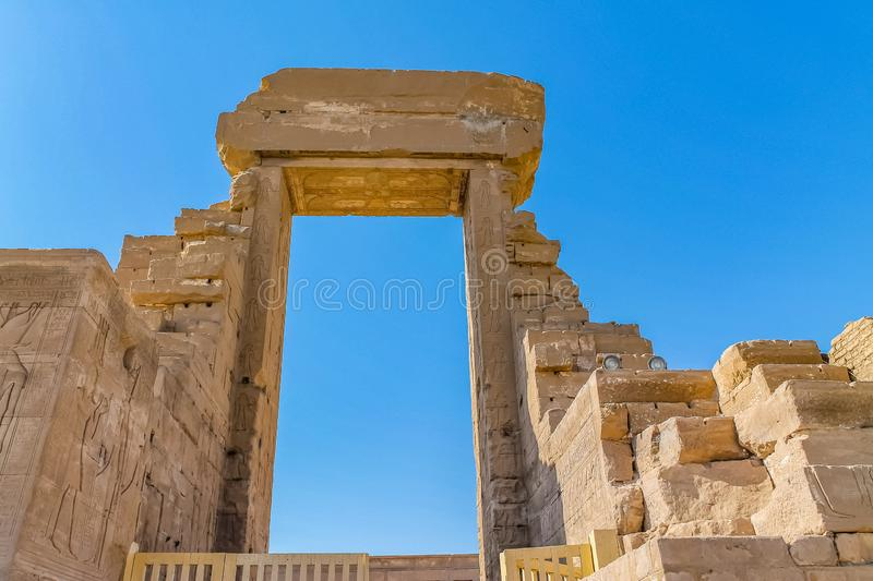 Ancient Egyptian temple Amon Ra in Luxor with columns and beautiful bas-reliefs Pharaoh`s cult royalty free stock photos