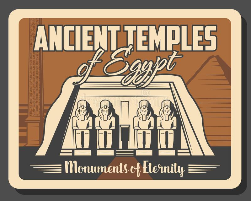 Egypt, ancient temples travel tours. Ancient Egyptian temples and historic monuments landmark tours. Vector antique city sightseeing travel trips to Abu Simbel royalty free illustration
