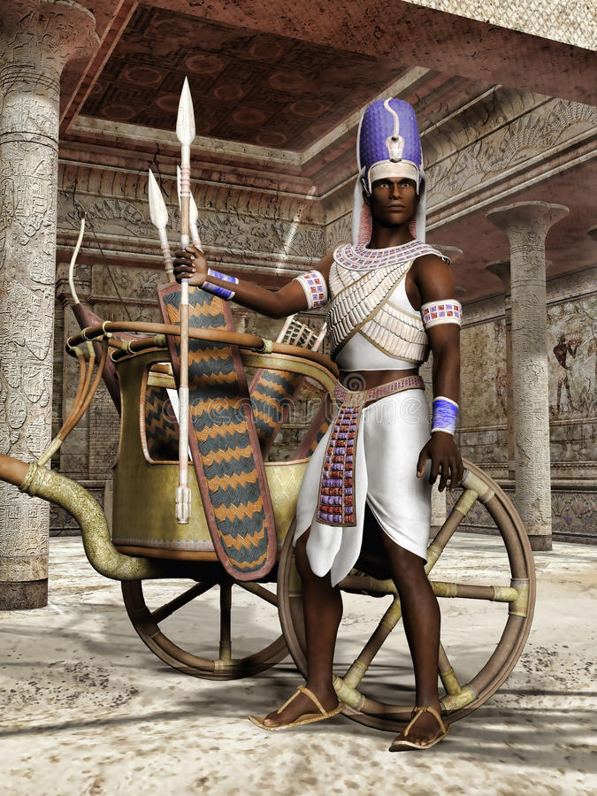Ancient Egyptian warrior with a chariot stock illustration