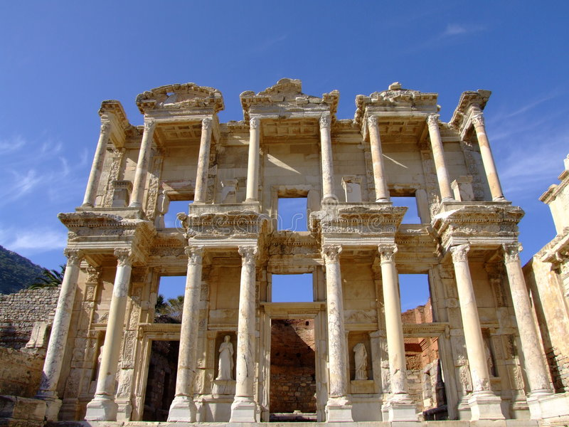 Ancient ephesus celsus library stock image