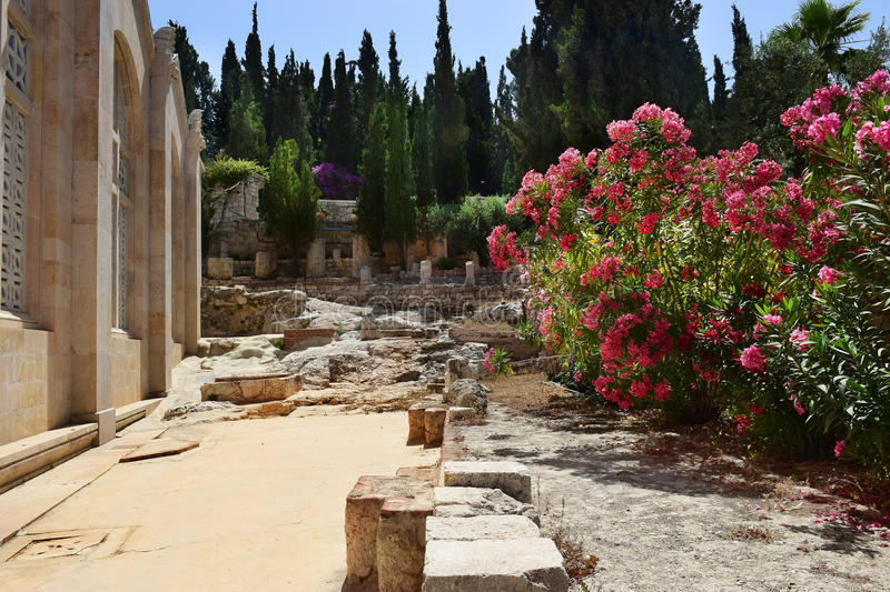 Ancient excavations, Church of all Nations, Mount of Olives, Garden of Gethsemane in Jerusalem stock image