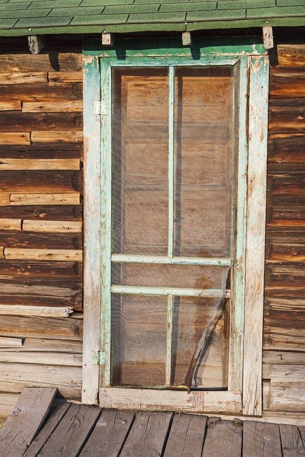 Ancient Exterior Screen Door Log Cabin Boards Retro Stock Photo