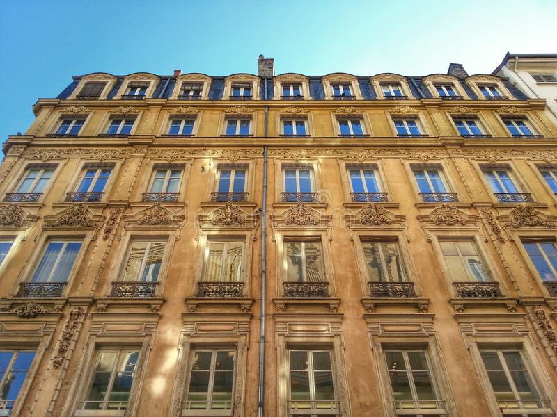 Ancient facade of the building of middle age, Lyon old town, France stock photos