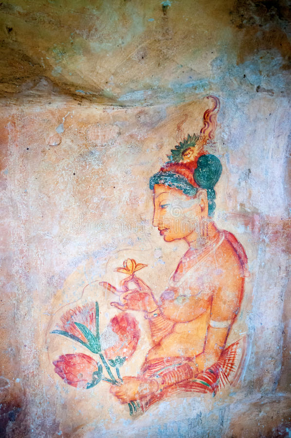 Download Ancient Famous Wall Frescoes At Sigirya Sri Lanka Stock Photo - Image: 26114350