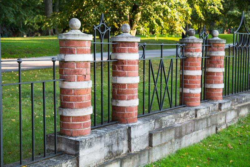 Ancient fence in the Museum reserve Tsaritsyno. Moscow attractions royalty free stock photo