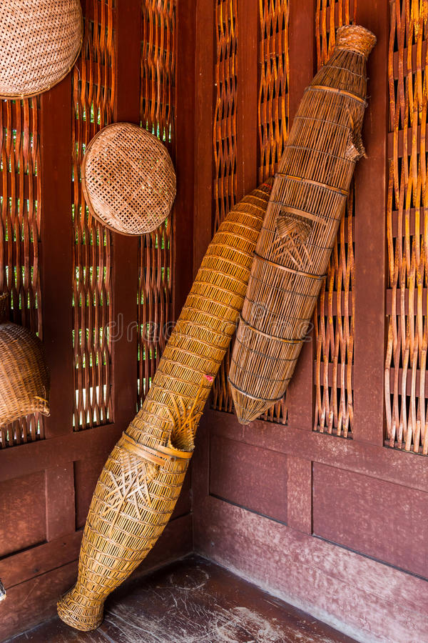 Ancient fish trap bamboo equipment. stock photography