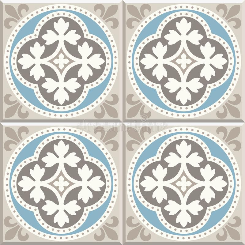 Ancient floor ceramic tiles. Victorian English floor tiling design, seamless vector pattern royalty free illustration