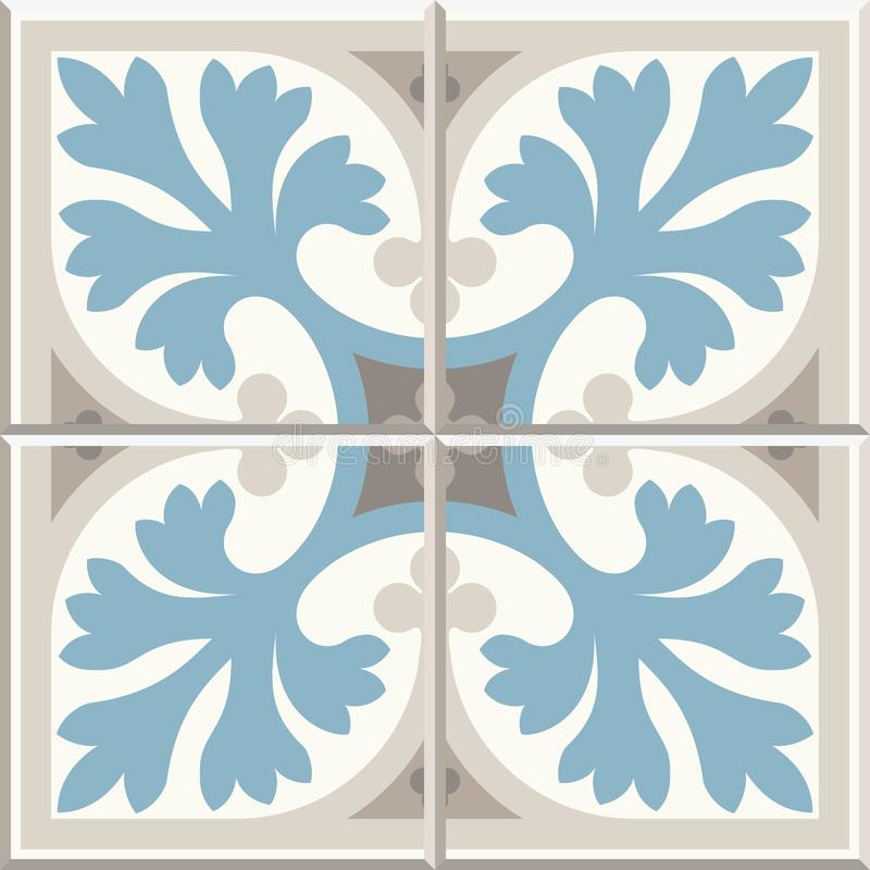 Ancient floor ceramic tiles. Victorian English floor tiling design, seamless vector pattern vector illustration