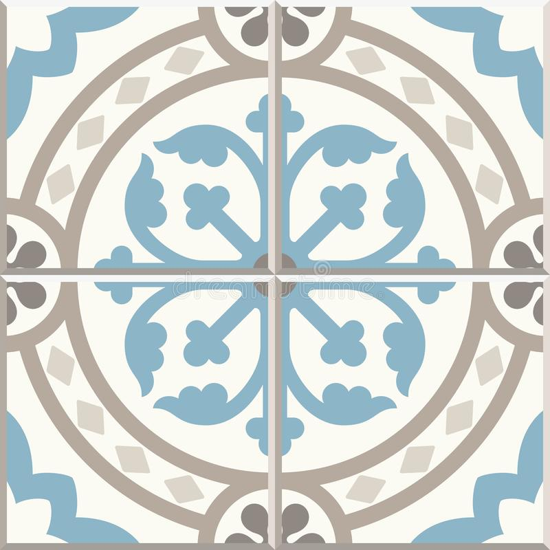 Ancient floor ceramic tiles. Victorian English floor tiling design, seamless vector pattern stock illustration