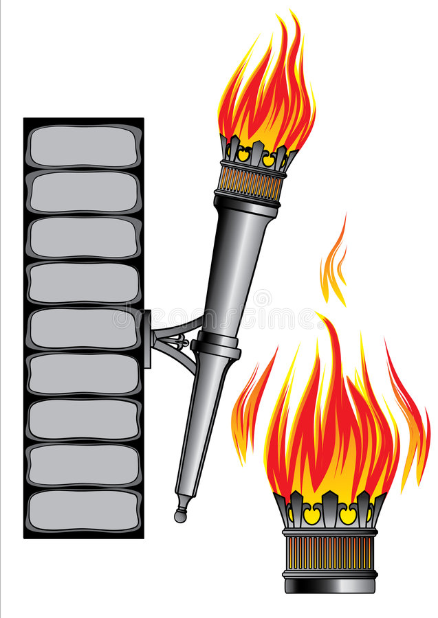 Ancient forged fire fixture stock illustration