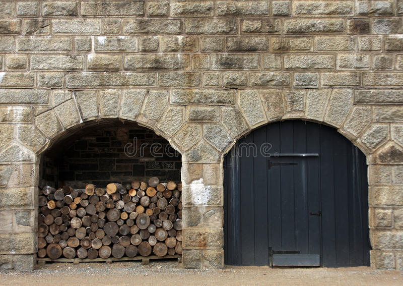 Military fort - stone wall. Defensive structure built of stone - Halifax Citadel stock photo