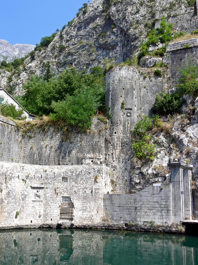 Ancient fortification. Part of an ancient fortification in Kotor, Montenegro stock photo