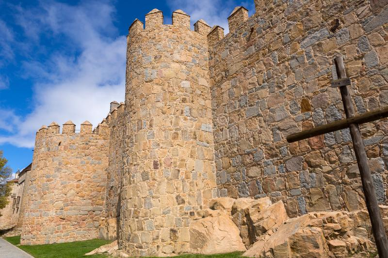 Ancient fortification of Avila stock images