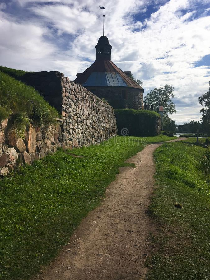 Ancient fortress, architecture, picturesque places in Karelia stock image