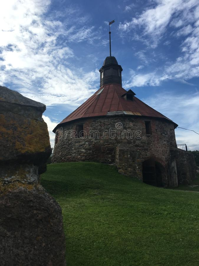 Ancient fortress, architecture, picturesque places in Karelia. Ancient fortress in the Republic of Karily, sights of Russia, picturesque places stock photo