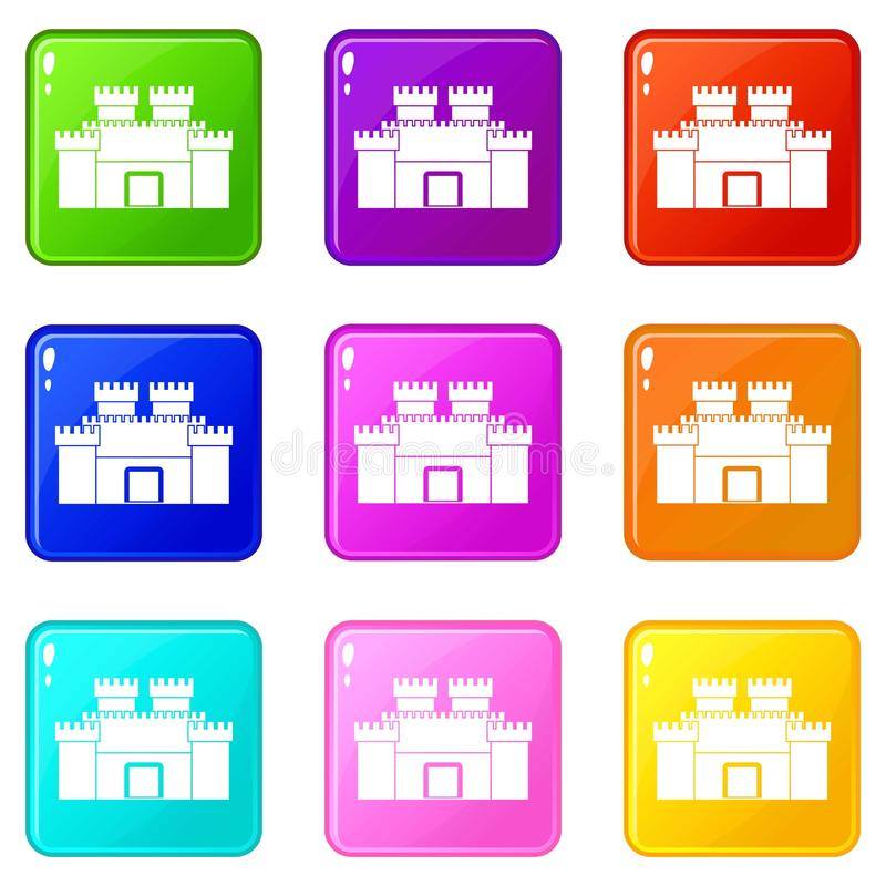 Ancient fortress icons 9 set. Ancient fortress icons of 9 color set isolated vector illustration stock illustration