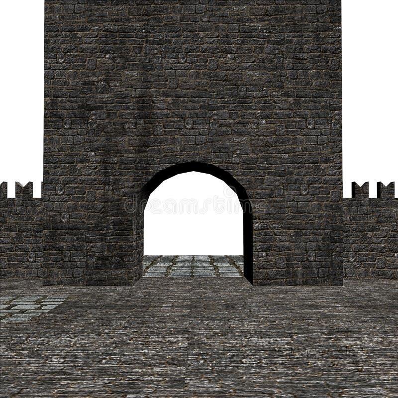 3D Medieval fortress. Ancient fortress, medieval house 3d rendered illustration stock illustration