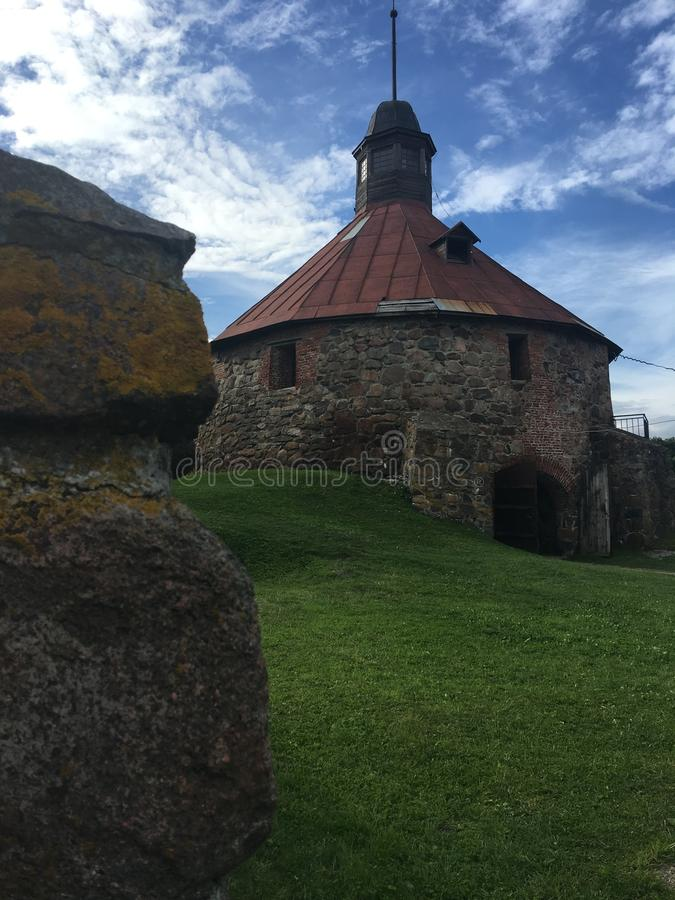 Ancient fortress, architecture, picturesque places in Karelia. Ancient fortress in the Republic of Karily, sights of Russia, picturesque places stock photos