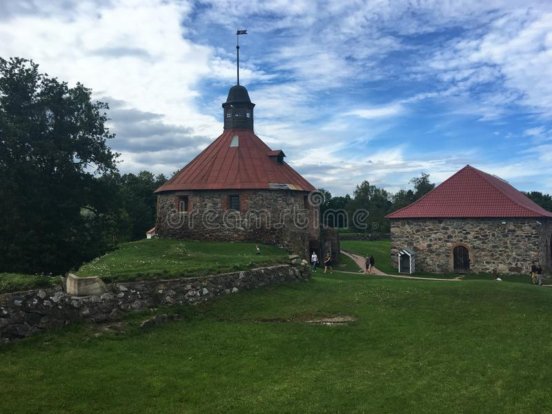 Ancient fortress, architecture, picturesque places in Karelia. Ancient fortress in the Republic of Karily, sights of Russia, picturesque places stock photography