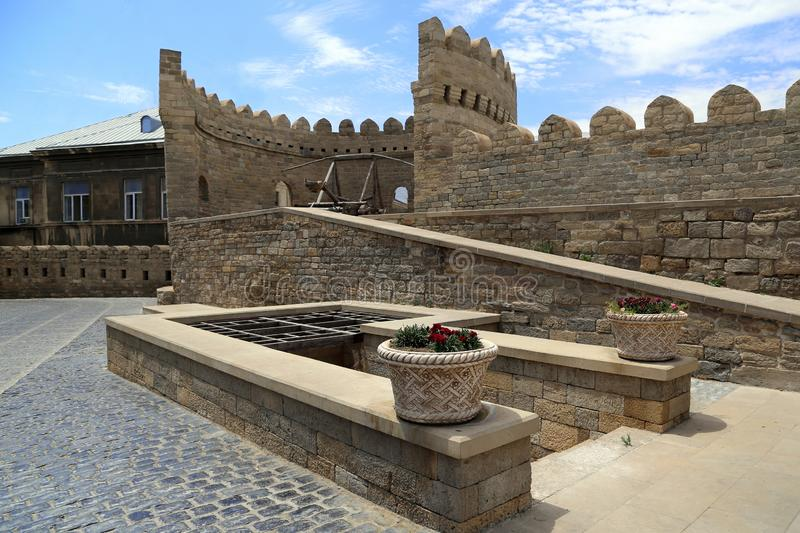 Ancient fortress wall in the old town of Icheri Sheher in Baku royalty free stock image