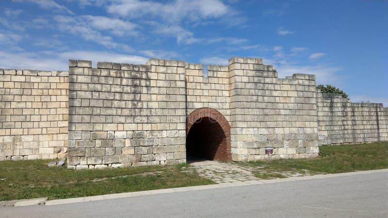 Ancient fortress wall Pliska stock image